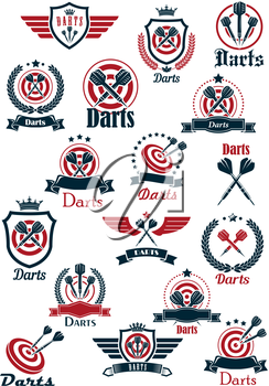 Sporting emblems for darts game club with arrows on red dartboards and crowned medieval shields with wings, supplemented by laurel wreaths, ribbon banners and stars