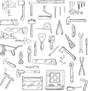 Construction hand tools icons of hammer and axe, saws and wrench, screwdrivers and scissors, trowel and spatula, paintbrush and roller, knives and fastener, pliers ans toolbox, blueprint, wheelbarrow