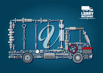 Mechanical engine parts arranged into silhouette of a truck with wheels, steering wheel, battery, speedometer and fasteners. For lorry mechanic or transportation service design