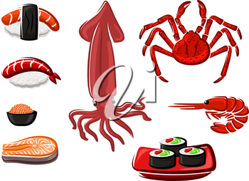 Fresh salmon steak, sushi rolls and sashimi, crab, shrimp, red caviar and squid seafood  set in cartoon style. For menu or recipe book design