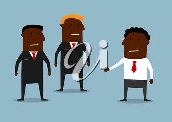 Cartoon powerful bodyguards in black suits guarding a carefree businessman. Business security concept