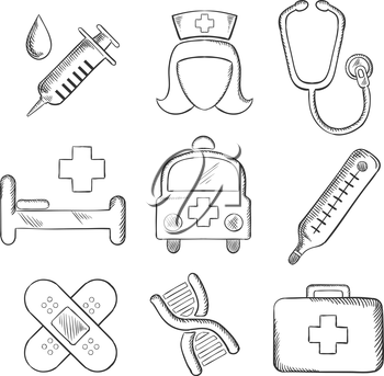 Sketched medical and healthcare icons with a syringe, nurse, stethoscope, bandages, DNA, ambulance, thermometer, first aid kit and hospital bed isolated on white. Sketch style
