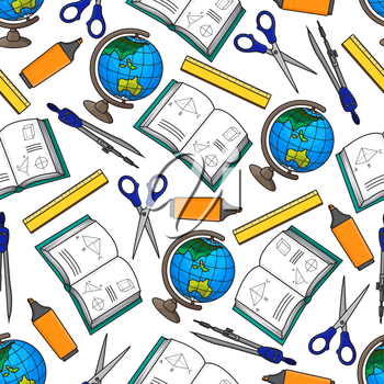 Seamless background of back to school supplies with cartoon pattern of globes, schoolbooks with geometric figures, rulers, scissors, compasses and yellow highlighters. Great for education and knowledg