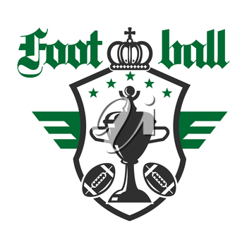 American football sporting tournament badge of champion trophy cup with balls and stars on winged heraldic shield with crown on the top. Sports competition theme design usage