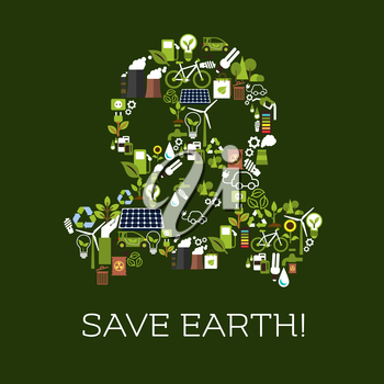 Save Earth. Environment protection symbol in shape of gas mask. Natural energy and electricity sources vector elements of leaf, water, wind, solar panel, plug, bicycle, garbage utilization bin