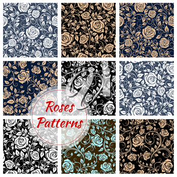 Roses floral seamless patterns. Vector pattern of rose buds, curly stems and tendrils. Luxurious flowery rose ornamental decoration background
