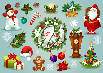 Christmas holiday icons of Santa Claus with gift, xmas tree with ball and lights, holly berry, snowflake, fir wreath, candy, gingerbread man, snowman, candle, bell, clock with pine, poinsettia flower