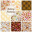 Bakery and pastry food seamless pattern background set. Bread, cake, cupcake, croissant, chocolate, donut, pie, candy and baking ingredients. Bakery and pastry desserts design
