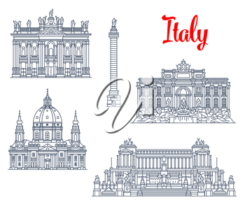 Italy famous architecture symbols and sightseeing buildings. Vector isolate icons and facades of Trajan Column, Chiesa or Church Gran Madre di Dio in Turin, Archbasilica of San Giovanni or St John Lat