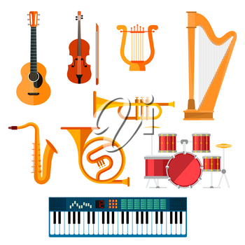 Guitar, synthesizer piano and drum station vector icons. String, wind and key musical instruments of isolated harp, sax or saxophone, trombone or trumpet and fiddle violin for orchestra or jazz music