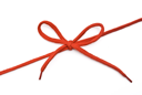 Royalty Free Photo of a Red Shoelace With Bow