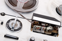 Royalty Free Photo of a Retro Reel to Reel Audio Recording Device
