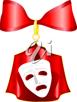 Theatrical mask with a red ribbon
