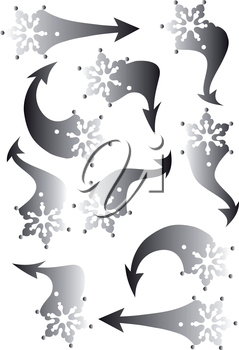 Set of snowflakes arrow stickers, vector illustration