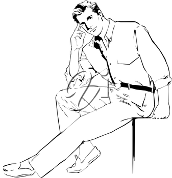 Royalty Free Clipart Image of a Man Sitting Casually