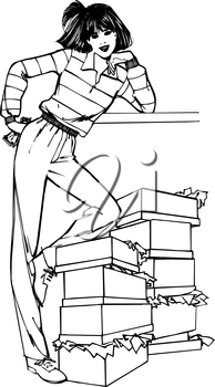 Royalty Free Clipart Image of a Woman With Boxes