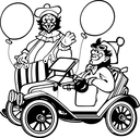 Royalty Free Clipart Image of Two Clowns and a Car