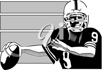 Royalty Free Clipart Image of a Quarterback With the Ball