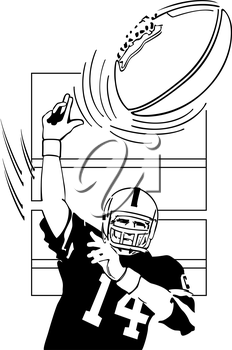 Royalty Free Clipart Image of a Quarterback Throwing a Ball