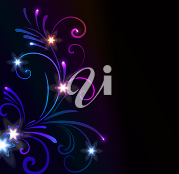 Royalty Free Clipart Image of a Blue and Purple Flourish With Small Flowers on Black