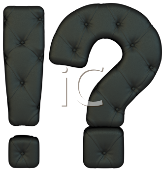 Royalty Free Clipart Image of Black Leather Query and Exclamation Marks