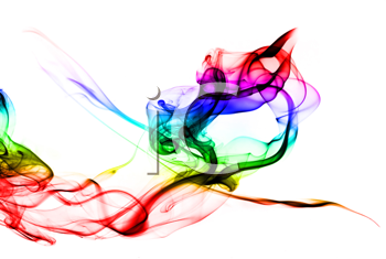 Gradient Colored fume shape on white background inverted