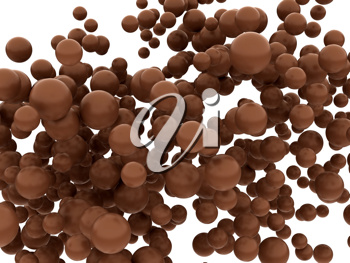 Tasty chocolate orbs or balls isolated over whtie background