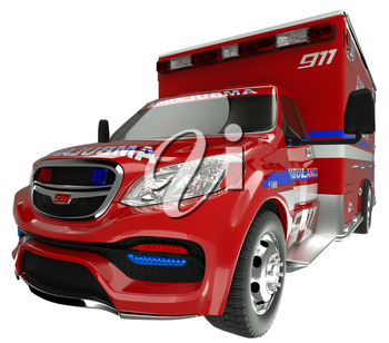 Emergency services vehicle: wide angle view of on white. Custom made and rendered