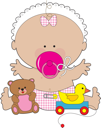 Royalty Free Clipart Image of a Baby Girl With a Soother, Teddy Bear and Rubber Ducky