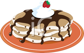 Royalty Free Clipart Image of a Stack of Pancakes With Chocolate Sauce and Whipped Cream