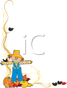Royalty Free Clipart Image of a Scarecrow With Vegetables and Leaves