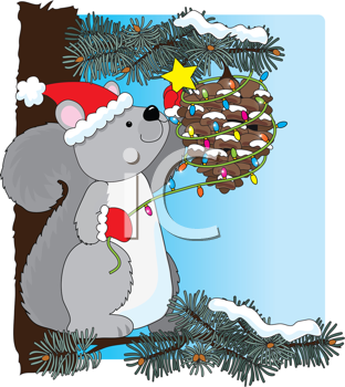 Royalty Free Clipart Image of a Squirrel Decorating an Acorn for Christmas