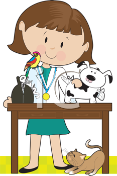 Royalty Free Clipart Image of a Female Vet With Animals