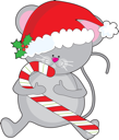 A cute, smiling mouse is holding a candy cane, and wearing a Santa hat adorned with a sprig of holly.