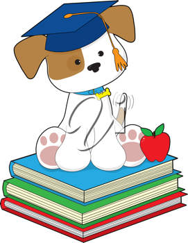A cute puppy wearing a graduate cap, is sitting atop a stack of three books, beside a red apple.