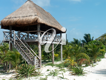 A view of the hut built on the caribbean beach.