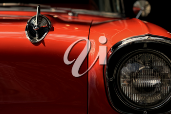 Close-up view of the old restored classic car.