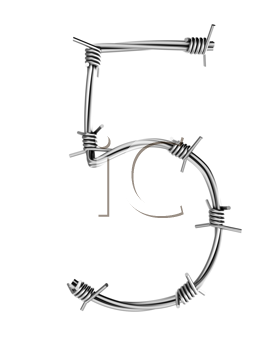 Royalty Free Clipart Image of a Number 5 From Barbed Wire