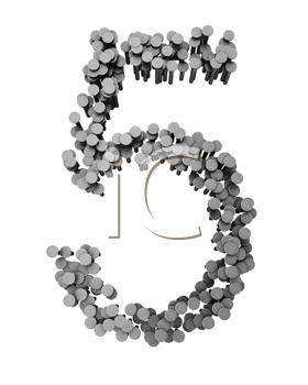 Royalty Free Clipart Image of a Five Made From Hammered Nails