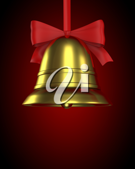 Christmas bell with red ribbon on red gradient background