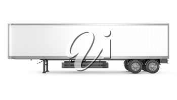 Blank white parked semi trailer, side view, isolated on white background