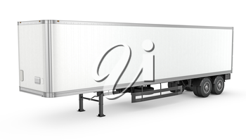 Blank white parked semi trailer, isolated on white background