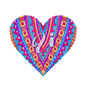 Bright heart with abstract pattern on white background, hand draw