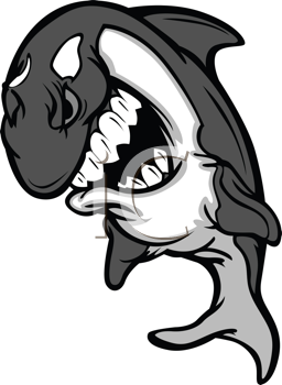 Royalty Free Clipart Image of a Shark Mascot