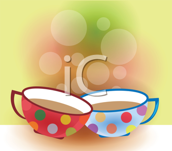 Royalty Free Clipart Image of Two Coffee Cups