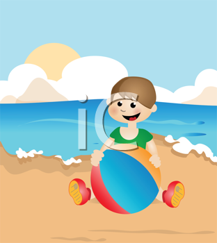 Royalty Free Clipart Image of a Kid Playing on a Beach