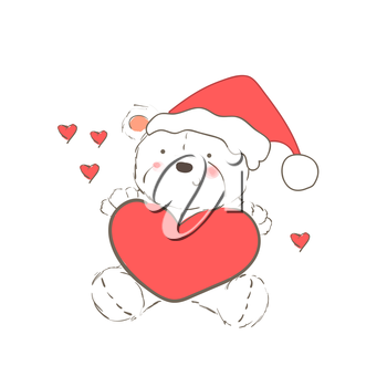 Illustration with christmas bear wearing red hat isolated on white background