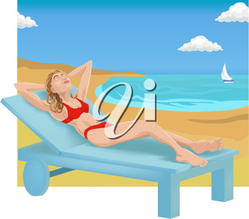 Royalty Free Clipart Image of a Woman Sunbathing on a Beach