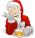 Royalty Free Clipart Image of Santa Clause Drinking