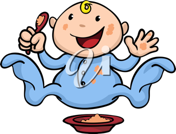 Royalty Free Clipart Image of a Baby Eating Food